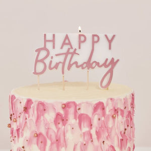 Rose Gold Happy Birthday Candle