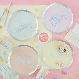Pastel Party Happy Birthday Plates