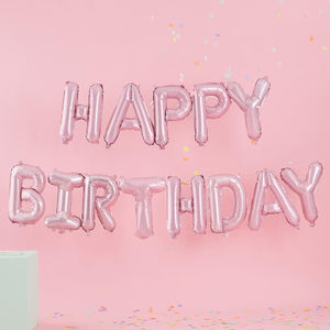 Pink Happy Birthday Letter Balloons