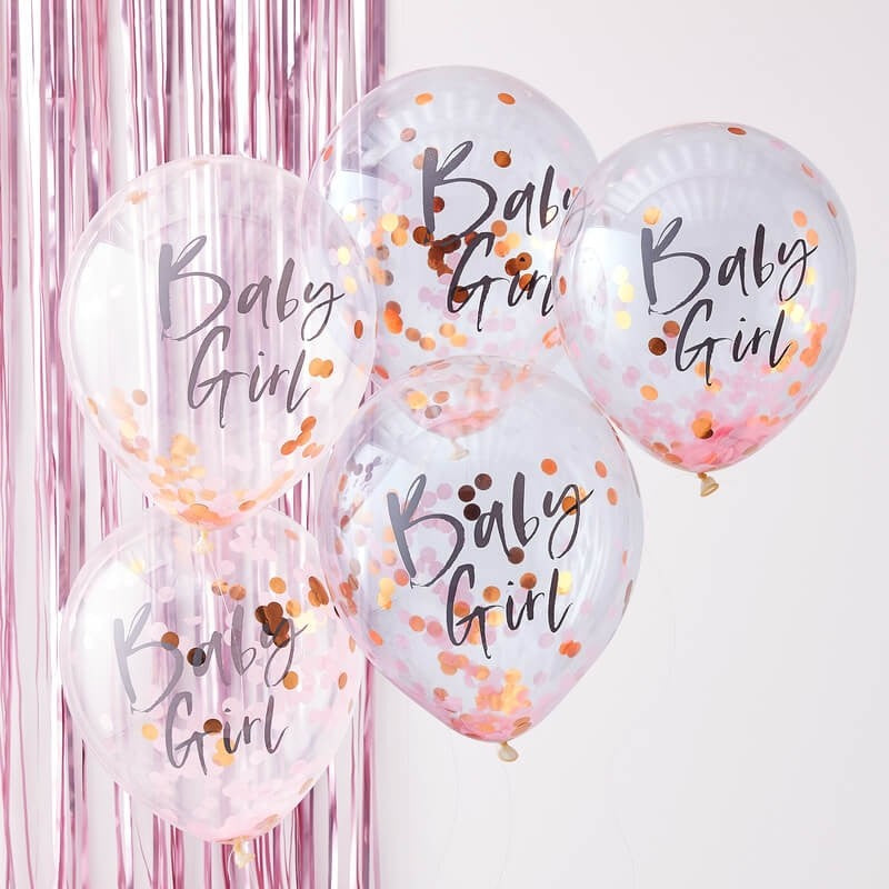 Pink and Rose Gold Baby Girl Confetti Balloons