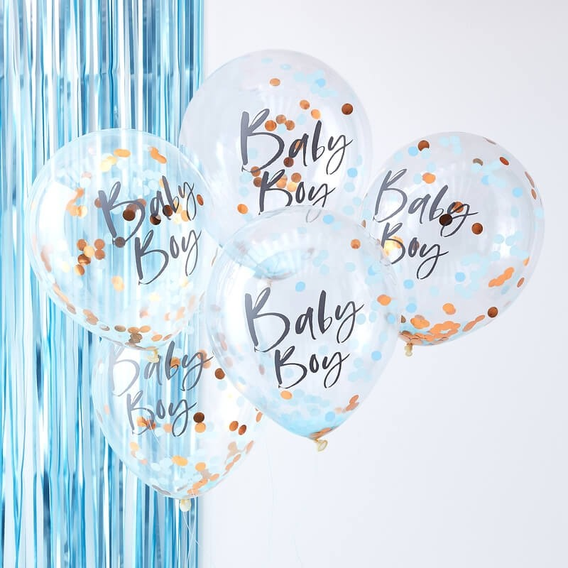 Blue and Rose Gold Baby Boy Confetti Balloons