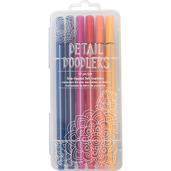 Here & There Detail Doodlers Felt Tip Markers 12 Pkg