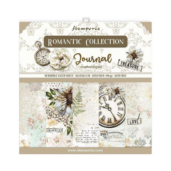 "Romantic Stamperia Double-Sided Paper Pad 12""X12"" 10/Pkg"