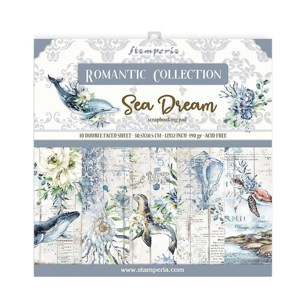 "Romantic Sea Dream Stamperia Double-Sided Paper Pad 12""X12"" 10/Pkg"