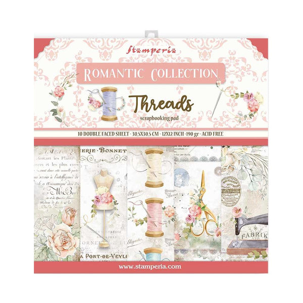 "Romantic Threads Stamperia Double-Sided Paper Pad 12""X12"" 10/Pkg"