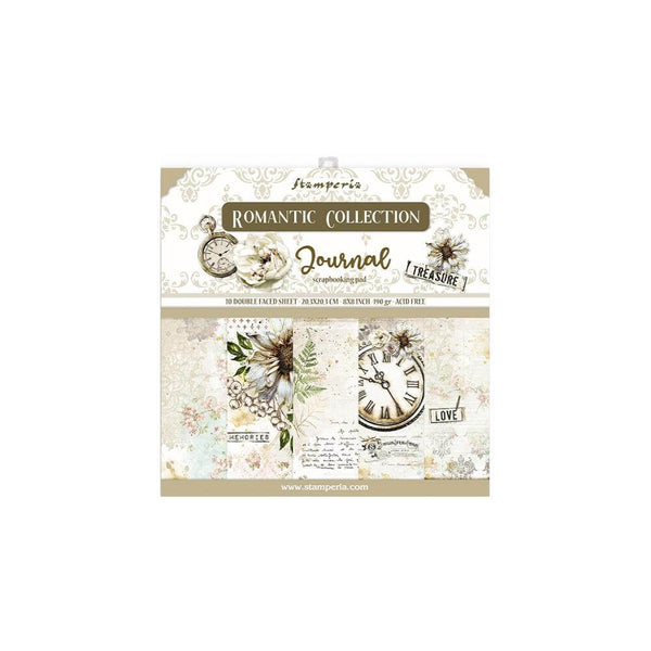 "Romantic Journal Stamperia Double-Sided Paper Pad 8""X8"" 10/Pkg"
