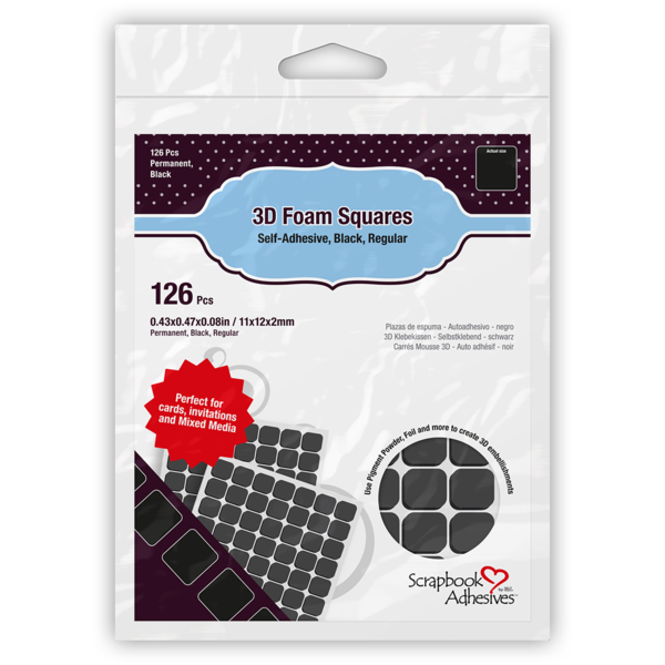 Scrabook Adhesive 3D Foam Squares Black Regular