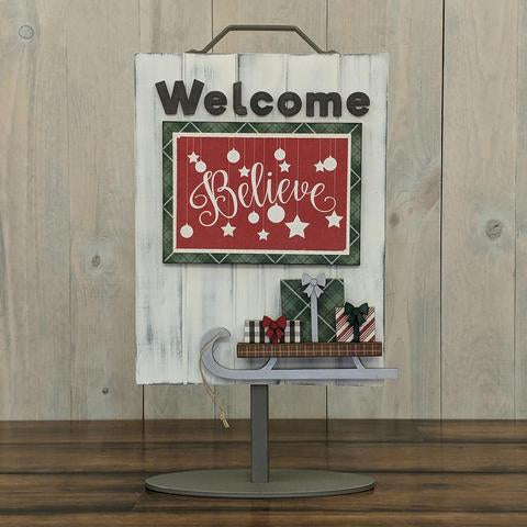 Welcome Sign - Welcome Sled with Presents