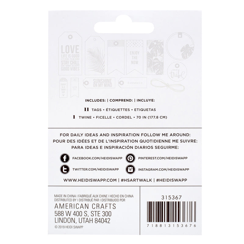 Heidi Swapp Art Walk Embossed Tag Kit 12/Pkg