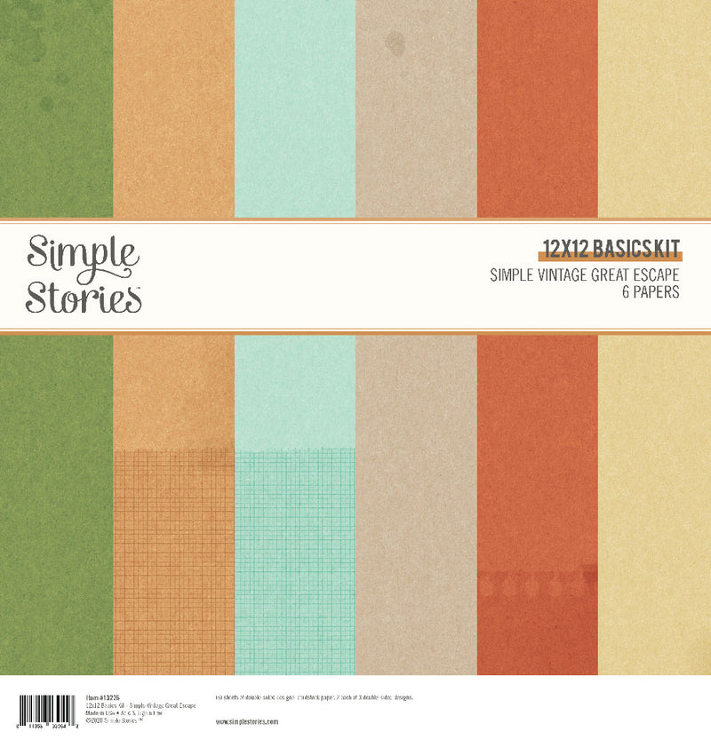 Simple Vintage Great Escape 12x12 Basics Kit by Simple Stories
