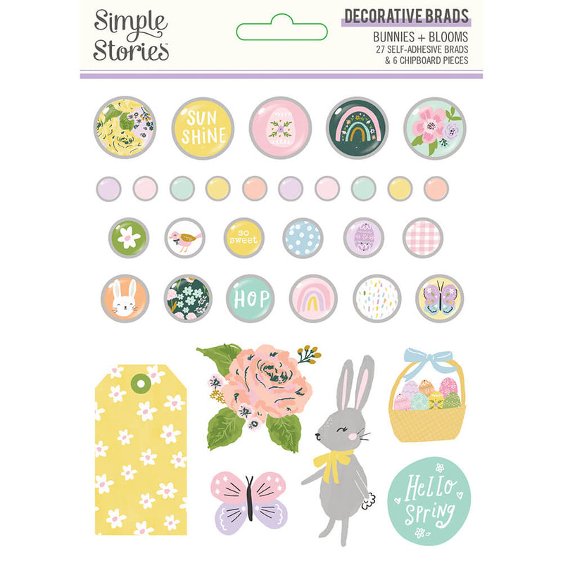 Bunnies + Blooms Decorative Brads