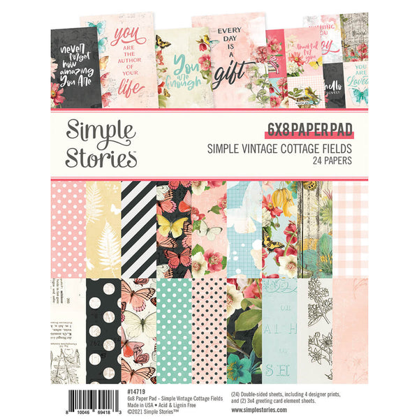 Simple Vintage Cottage Fields 6x8 Book Paper Pad