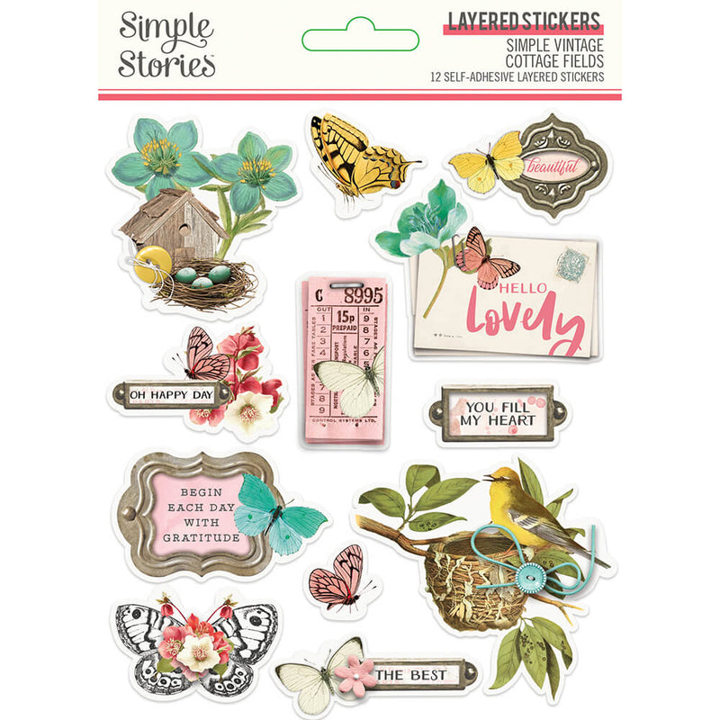 Simple Vintage Cottage Fields Layered Stickers
