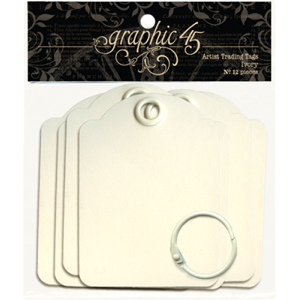 Graphic 45 Artist Trading Tags–Ivory
