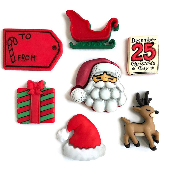 Santa's on His Way Button Pack
