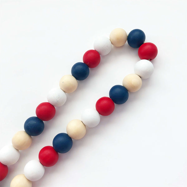 Wood Beads - Red, White, Blue, Natural