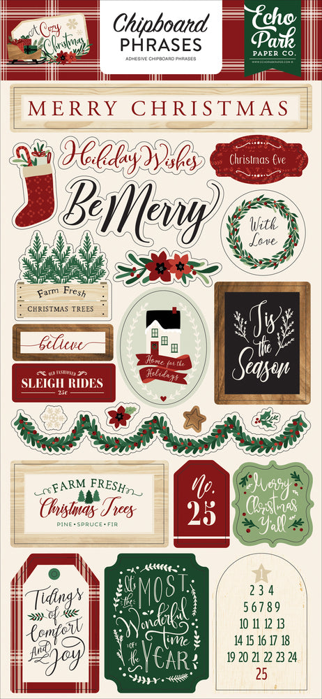 A COZY CHRISTMAS 6X13 CHIPBOARD PHRASES