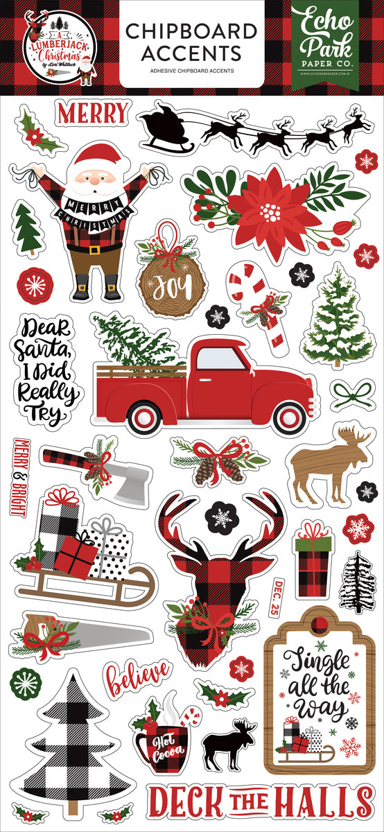 A Lumberjack Christmas 6x13 Chipboard Accents