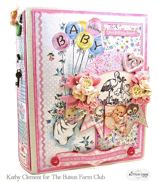 Authentique's Swaddle Baby Girl Mini Album Kit by Kathy Clement~TUTORIAL