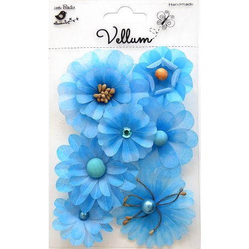 Little Birdie Handmade Flowers, Vellum Symphony, Blue 7 pieces