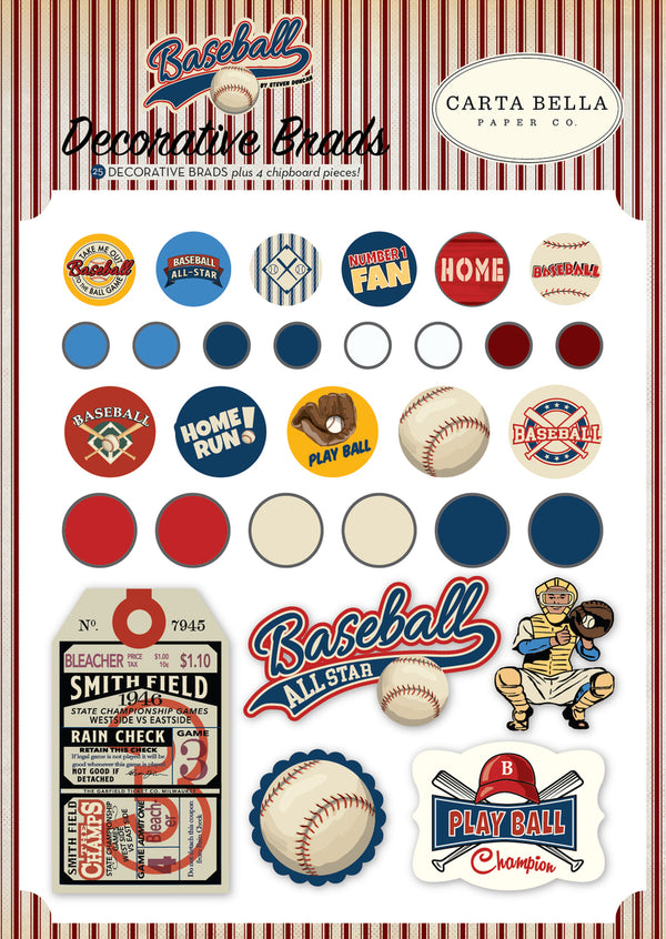 BASEBALL DECORATIVE BRADS by ECHO PARK