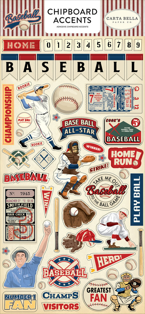 BASEBALL 6X13 CHIPBOARD ACCENTS by Echo Park