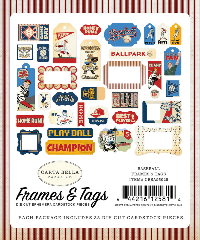 BASEBALL FRAMES & TAGS EPHEMERA by ECHO PARK