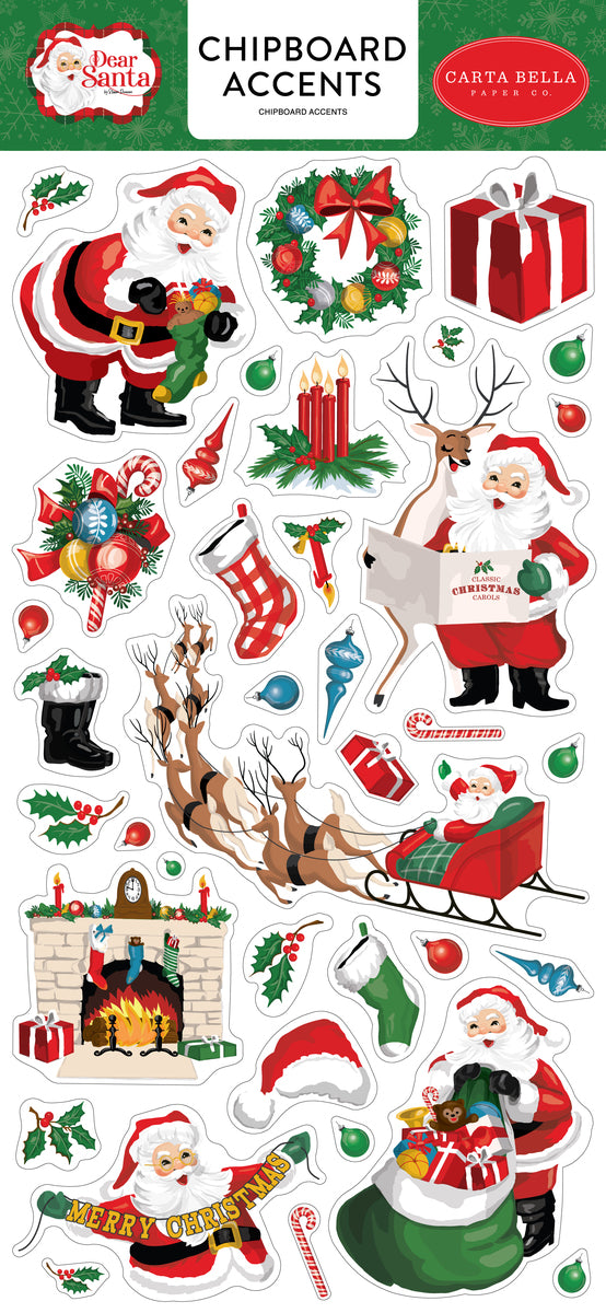 Dear Santa 6x13 Chipboard Accents