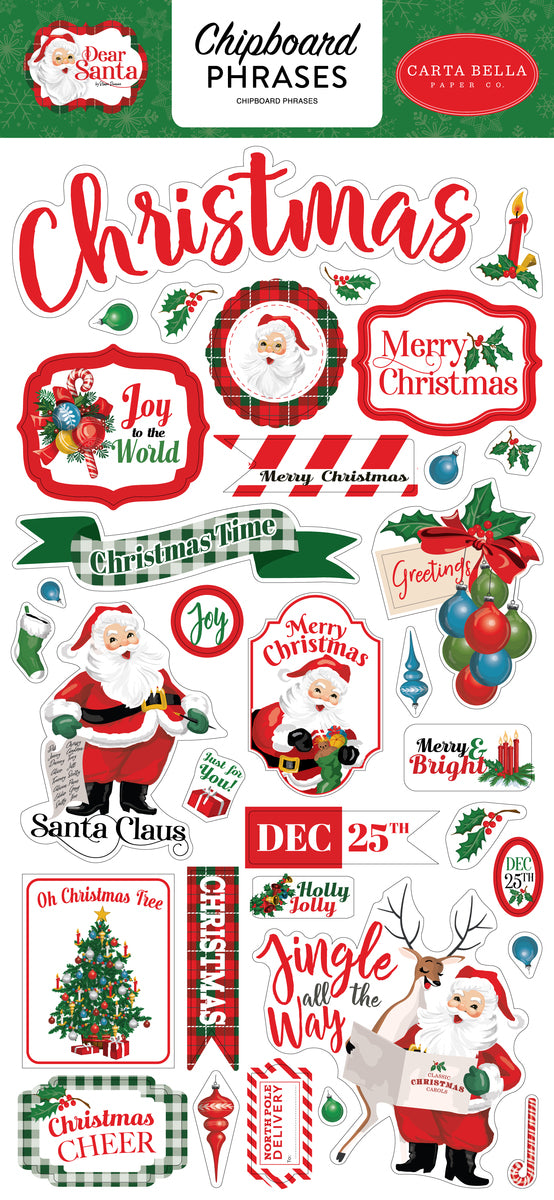 Dear Santa 6x13 Chipboard Phrases