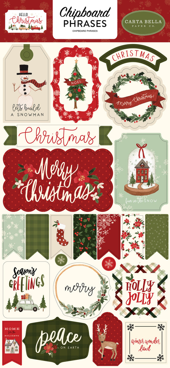 Hello Christmas 6x13 Chipboard Phrases