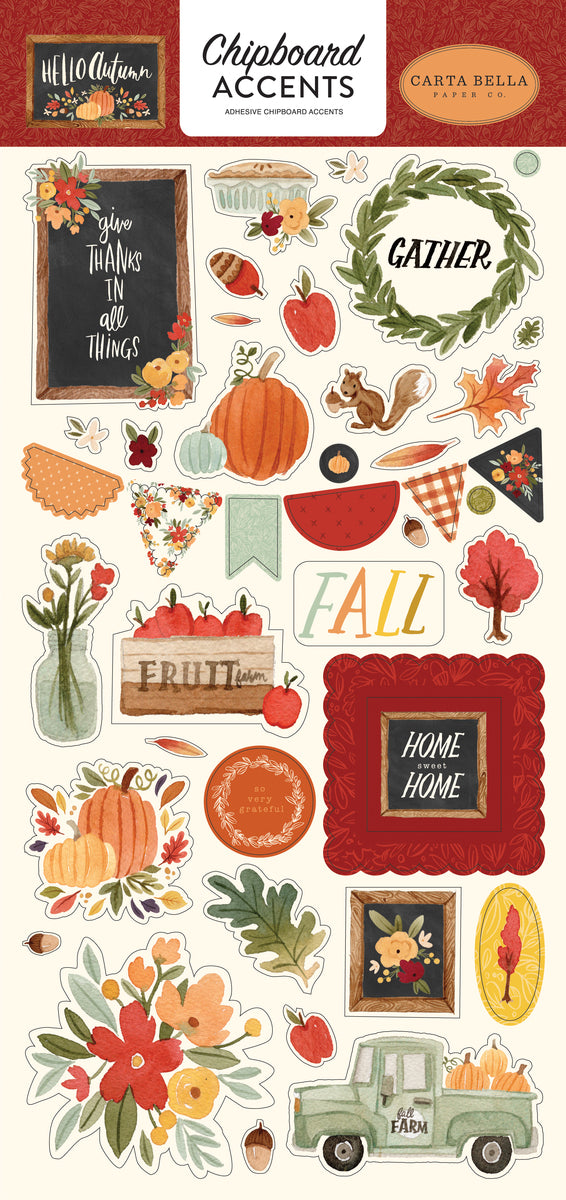 Hello Autumn 6x13 Chipboard Accents