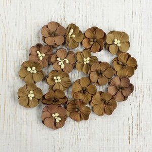 Little Birdie Handmade Flowers Vintaj Embossed Daisies. Rustic Tan 18 pieces