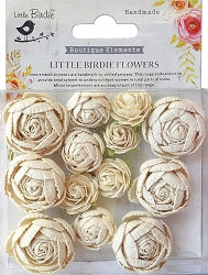 Little Birdie Handmade Flowers English Roses , Moon Light , 13 pieces