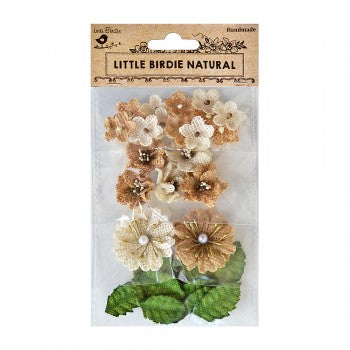 Little Birdie Handmade Flowers Renae, Burlap Natural & Cream 29 pieces