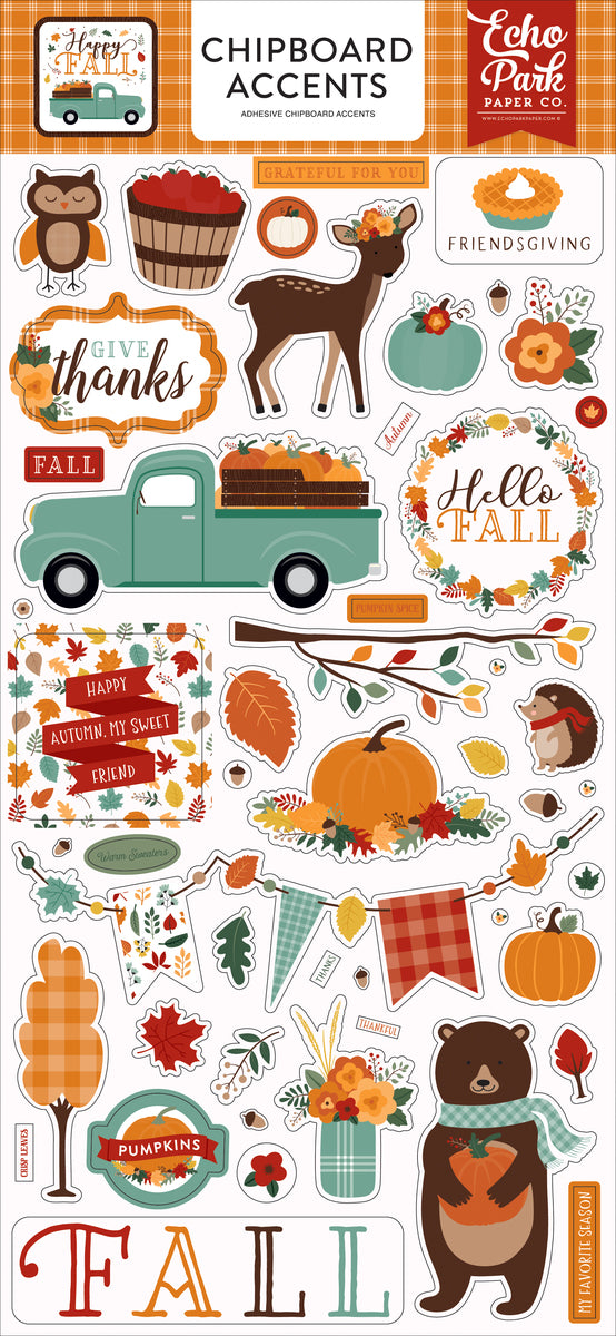 Happy Fall 6x13 Chipboard Accents