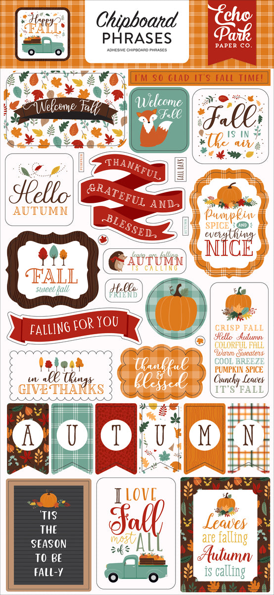 Happy Fall 6x13 Chipboard Phrases