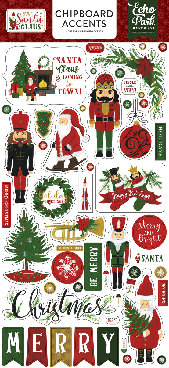 HERE COMES SANTA CLAUS 6X13 CHIPBOARD ACCENTS by ECHO PARK
