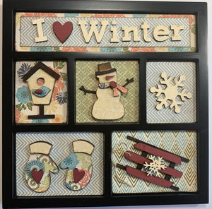 I 'heart' Winter Shadow Box Kit ~ papers included