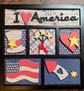 Stars & Stripes Shadow Box Kit ~ papers included