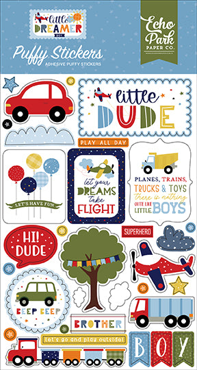 Little Dreamer Boy Puffy Stickers