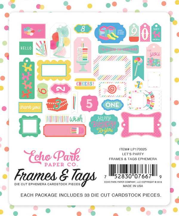 LET'S PARTY FRAMES & TAGS EPHEMERA by ECHO PARK
