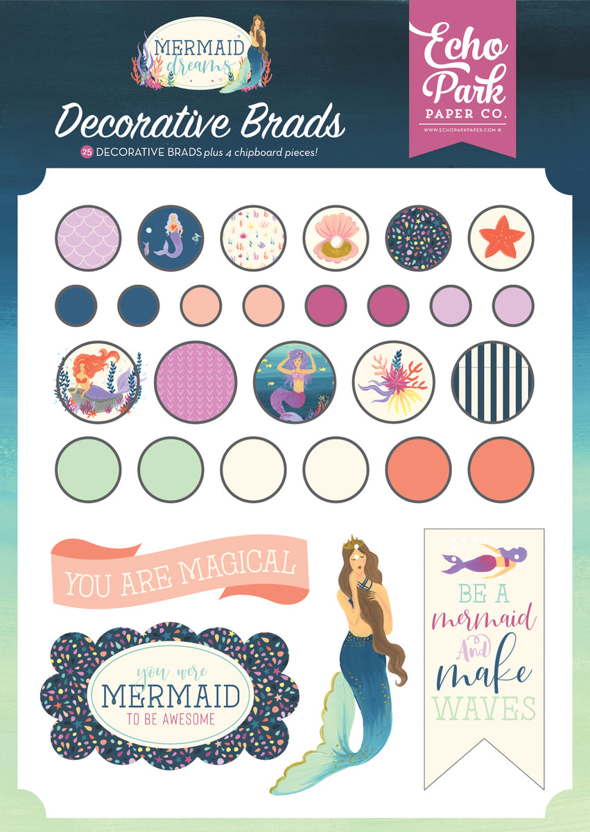 MERMAID DREAMS DECORATIVE BRADS by ECHO PARK