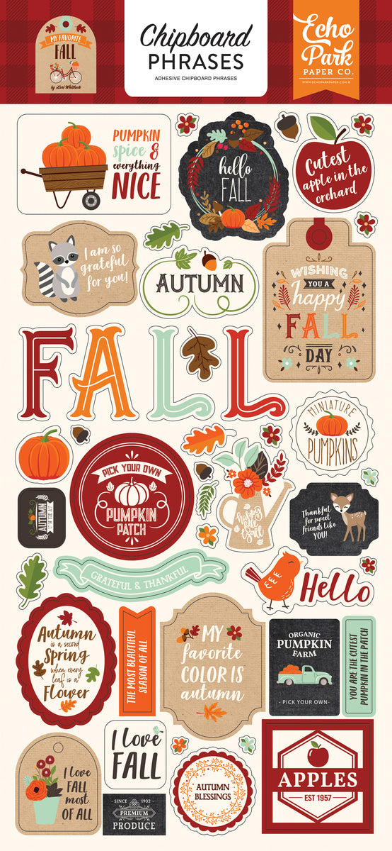 MY FAVORITE FALL 6X13 CHIPBOARD PHRASES by ECHO PARK