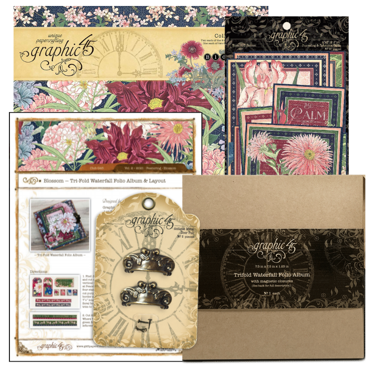 February Graphic 45 Monthly Class Series Vol 2 2021 - Blossom Waterfall Folio Album & Layout
