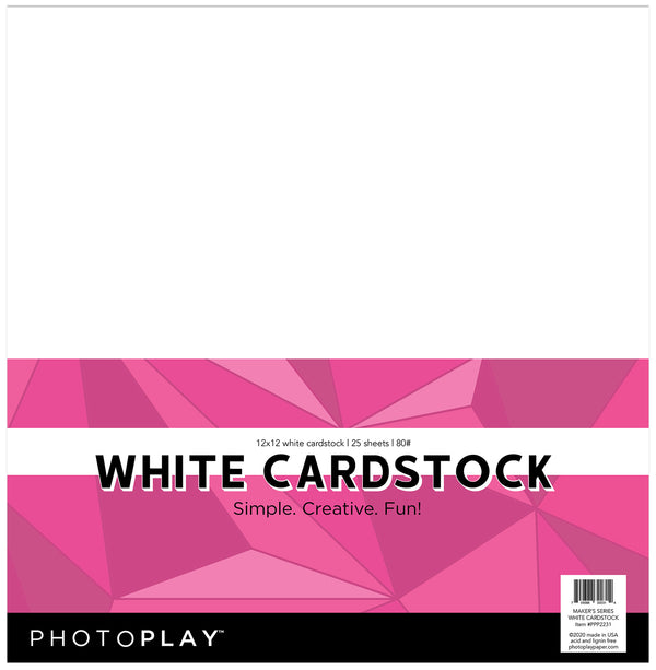 Maker's Series 12x12 White 80# Cardstock - Pack of 25 by Photoplay Paper