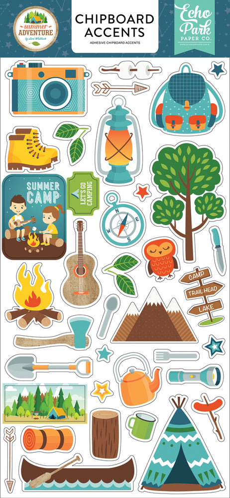 SUMMER ADVENTURE 6X13 CHIPBOARD ACCENTS by ECHO PARK