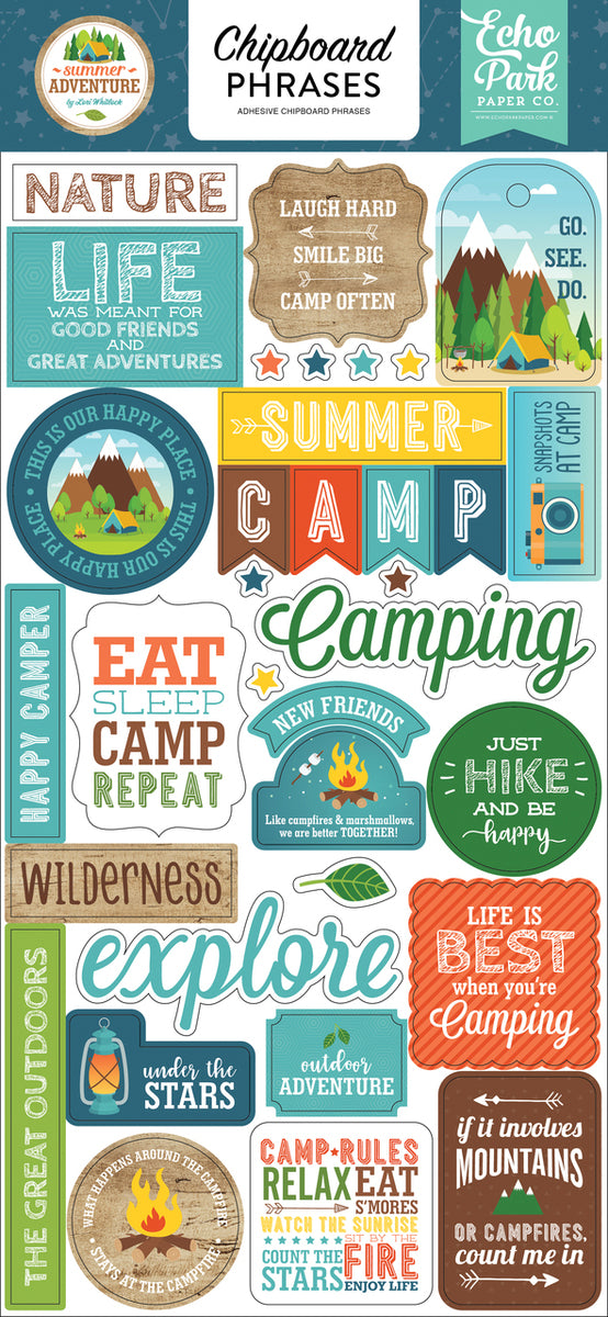 SUMMER ADVENTURE 6X13 CHIPBOARD PHRASES by ECHO PARK