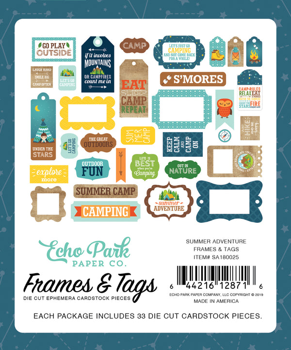 SUMMER ADVENTURE FRAMES & TAGS EPHEMERA by ECHO PARK