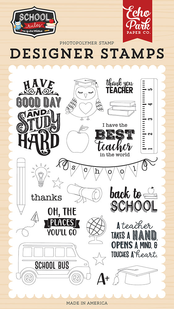 Study Hard Stamp Set by Echo Park