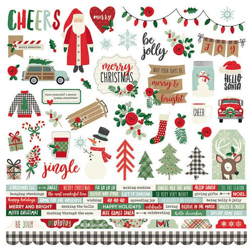Merry and Bright Christmas 12 x 12 Cardstock Stickers by Simple Stories